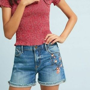 Anthropologie DRIFTWOOD  FLORAL EMBROID SHORTS 26